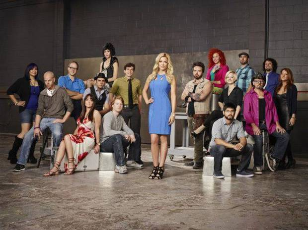 "FACE OFF -- Season 5 -- From left, Lymari ""Lyma"" Millot, Sam ""Rick"" Prince, Scott Ramp, Samantha Allen, Adolfo Barreto Rivera, Alaina ""Laney"" Parkhurst, Steve Tolin, Edward ""Eddie"" Holecko, McKenzie Westmore, Bryan ""Tate"" Steinsiek, Alana Schiro, Laura Tyler, Eric Zapata, Frank Ippolito, Roy Wooley, Robert ""RJ"" Haddy, Miranda Jory -- (Photo by Tommy Garcia/Syfy)"