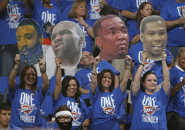 Thunder fans support their team during Game 1 of the NBA Finals between the Oklahoma City Thunder and the Miami Heat at Chesapeake Energy Arena in Oklahoma City, Tuesday, June 12, 2012. Photo by Chris Landsberger, The Oklahoman
