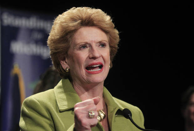 Sen. Debbie Stabenow, D-Mich., addresses supporters during the Michigan Democratic election night party at the MGM Grand Detroit, Tuesday, Nov. 6, 2012. (AP Photo/Carlos Osorio)