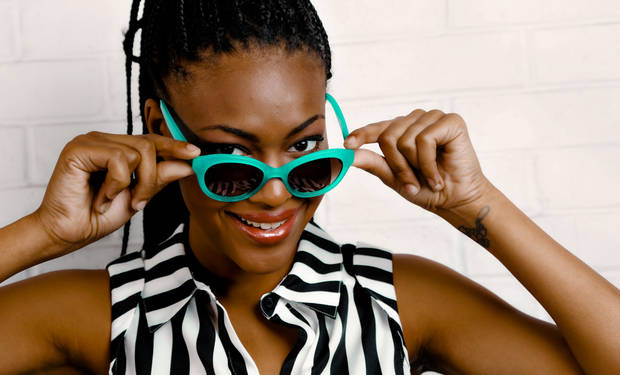 Kate Spade turquoise modified cat-eye sunglasses and Gianni Bini striped blouse from Dillard's, Penn Square Mall.<br /><br /> Model is Albreuna. Makeup by Lilly Stone, Sooo Lilly Cosmetics. Photo by Chris Landsberger, The Oklahoman. <strong>CHRIS LANDSBERGER</strong>