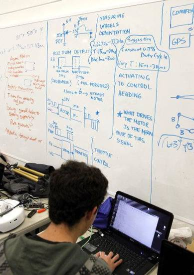 A whiteboard is covered in diagrams and instructions, as students from middle and high schools compete with flying drones at the University of Oklahoma's Rawls Engeineering Practice Facility in Norman, OK, Saturday, Dec. 3, 2011. By Paul Hellstern, The Oklahoman ORG XMIT: KOD