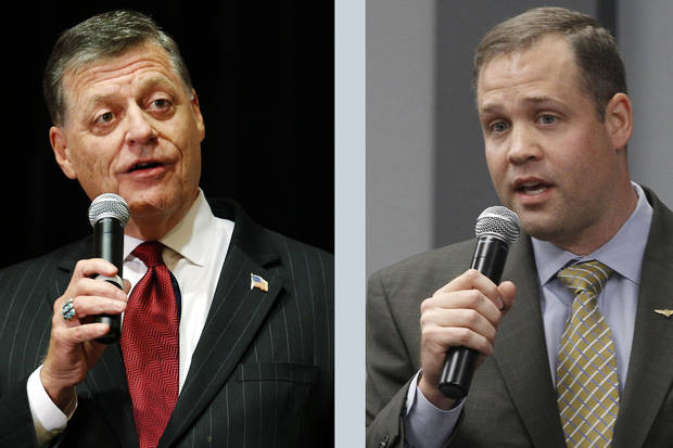 Oklahoma Reps. Tom Cole (R-Moore) and Jim Bridenstine (R-Tulsa), left to right.