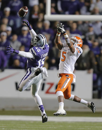 Kansas State's Randall Evans (15) breaks up a pass for Oklahoma State's Josh Stewart (5) during the college football game between the Oklahoma State University Cowboys (OSU) and the Kansas State University Wildcats (KSU) at Bill Snyder Family Football Stadium on Saturday, Nov. 1, 2012, in Manhattan, Kan. Photo by Chris Landsberger, The Oklahoman