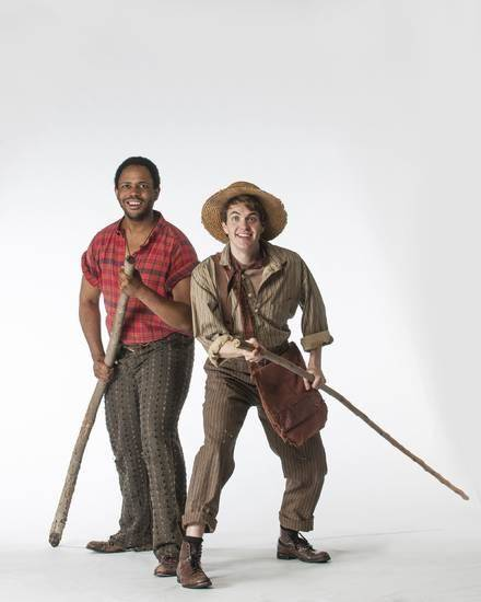 "Derrick Cobey (Jim) and Alex Enterline (Huck) in the Lyric Theatre production of ""Big River."" Photo by Keith RInearson"