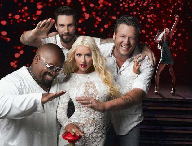 THE VOICE -- Season: 5 -- Pictured: (l-r) CeeLo Green, Adam Levine, Christina Aguilera, Blake Shelton -- (Photo by: Mark Seliger/NBC)