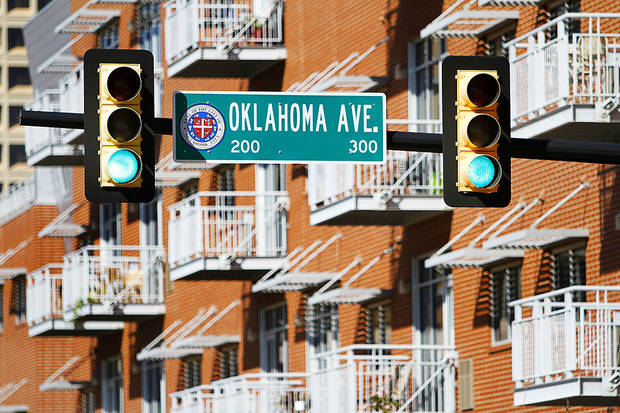 Rows of balconies overlook NE 2 and Oklahoma Avenue in Deep Deuce, a downtown Oklahoma City neighborhood that is seeing rapid growth. Photo by Steve Gooch, The Oklahoman