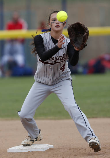 Sequoyah's Kara Linch (4) catches a ball at second base during the 3A OSSAA Championship softball game between Little Axe and Sequoyah at ASA Hall of Fame Stadium in Oklahoma City, Saturday, Oct. 6, 2012.  Photo by Garett Fisbeck, The Oklahoman