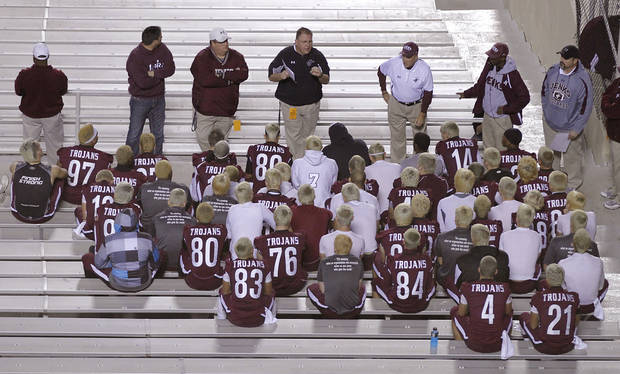 Members of the Jenks football team have a pre-game meeting during the Class 6A Oklahoma state championship football game between Norman North High School and Jenks High School at Boone Pickens Stadium on Friday, Nov. 30, 2012, in Stillwater, Okla.   Photo by Chris Landsberger, The Oklahoman
