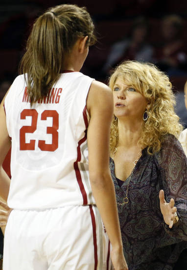 OU head coach Sherri Coale talks to Maddie Manning (23) during a women&#039;s college basketball exhibition game between the University of Oklahoma and Oklahoma Christian University at the Lloyd Noble Center in Norman, Okla., Thursday, Nov. 1, 2012. Photo by Nate Billings, The Oklahoman