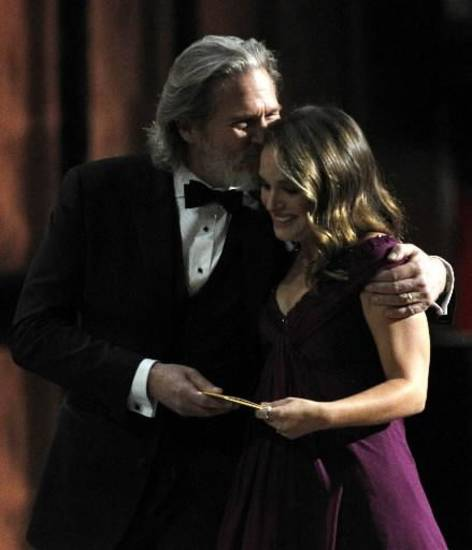 "Jeff Bridges congratulates Natalie Portman on her best actress win for ""Black Swan."""