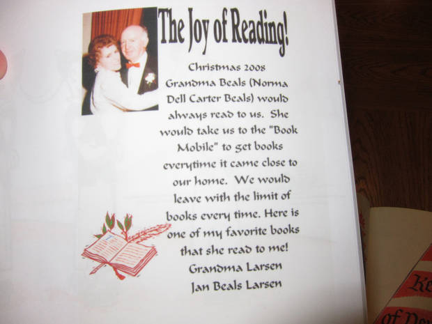 Jan Larsen created this special label to go inside the books she gives to her children and their families at Christmas time each year. The label pays tribute to Larsen's parents, particularly her mother, who instilled within her children a love of reading. Photo by Carla HInton <strong></strong>