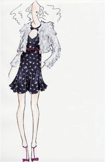 This sketch courtesy of Rebecca Taylor shows a design from the Rebecca Taylor fall 2011 collection.  The design will be previewed during Fashion Week in New York.      (AP Photo/Rebecca Taylor)