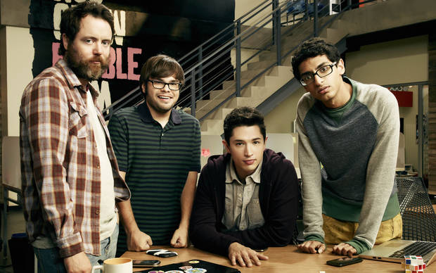 "In this photo provided by Amazon Studios, from left, Jon Daly, Charlie Saxton, Joe Dinicol and Karan Soni, star in Amazon's foriginal series ""Betas,"" which debuts Nov. 22, 2013, on Amazon.com. (AP Photo/Amazon Studios)"