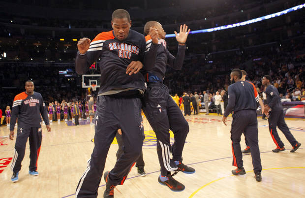 Oklahoma City's Kevin Durant (35) and Russell Westbrook (0) celebrate before Game 4 in the second round of the NBA basketball playoffs between the L.A. Lakers and the Oklahoma City Thunder at the Staples Center in Los Angeles, Saturday, May 19, 2012. Photo by Nate Billings, The Oklahoman
