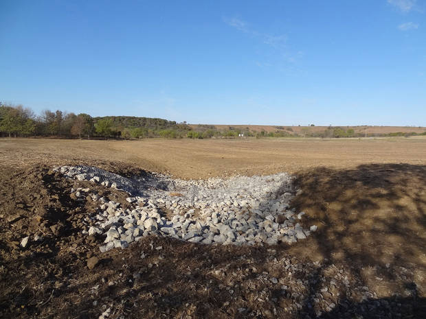 Oklahoma Energy Resources Board crews corrected drainage issues on a section of Earl and Dorothy Fink's land that was once damaged by salt scarring and erosion. It was OERB's 12,000th cleanup. <strong> - provided</strong>