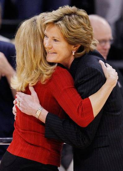 OU head coach Sherri Coale, left, and Tennessee head coach Pat Summitt hug before the women's college basketball game between Oklahoma and Tennessee at the Ford Center in Oklahoma City, Monday, February 2, 2009. BY NATE BILLINGS, THE OKLAHOMAN