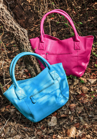 Bag it with color. Vegan-friendly LouenHide bags from Ruth Meyers. Photo by Chris Landsberger, The Oklahoman. <strong>CHRIS LANDSBERGER</strong>