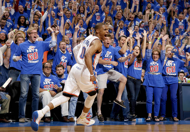 Oklahoma City's Russell Westbrook (0) celebrates during Game 5 in the second round of the NBA playoffs between the Oklahoma City Thunder and the L.A. Lakers at Chesapeake Energy Arena in Oklahoma City, Monday, May 21, 2012. Photo by Bryan Terry, The Oklahoman