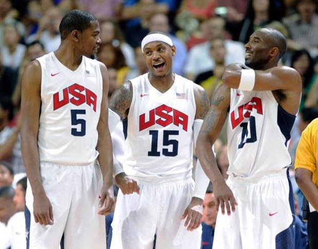 Team USA members Kevin Durant, far left, Carmelo Anthony and Kobe Bryant.