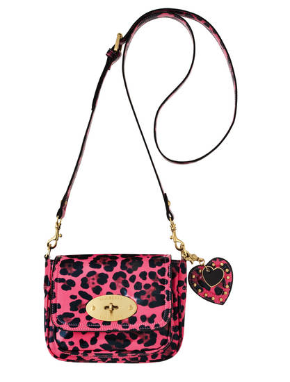 Mulberry pink leopard cross-body bag, $29.99. Also available in black patent.