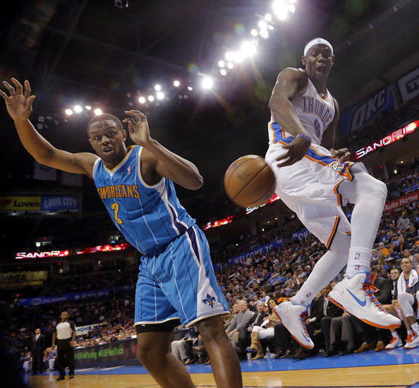 Oklahoma City Thunder's Ronnie Brewer (8) saves a loose ball in front ofNew Orleans Hornets' Darius Miller (2) during the NBA basketball game between the Oklahoma City Thunder and the New Orleans Hornets at the Chesapeake Energy Arena on Wednesday, Feb. 27, 2013, in Oklahoma City, Okla. Photo by Chris Landsberger, The Oklahoman