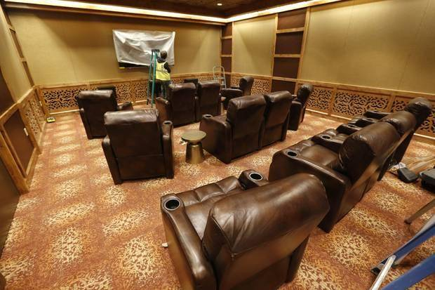 The small but plush movie theater inside the OK Kids Korral doubles as a tornado shelter. Photo by Steve Gooch, The Oklahoman