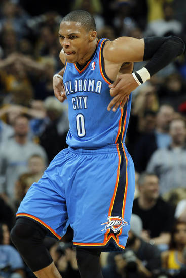 Oklahoma City Thunder guard Russell Westbrook reacts after tying the score to force overtime during the fourth quarter of an NBA basketball game against the Denver Nuggets, Sunday, Jan. 20, 2013, in Denver. The Nuggets won 121-118. (AP Photo/David Zalubowski)
