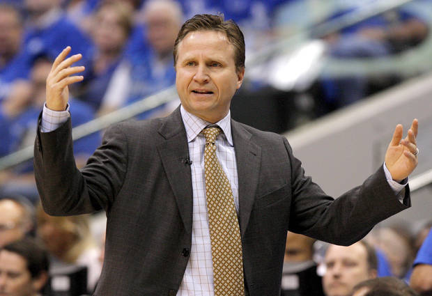 Oklahoma City coach Scott Brooks reacts during Game 1 of the Western Conference Finals in the NBA basketball playoffs between the Dallas Mavericks and the Oklahoma City Thunder at American Airlines Center in Dallas, Tuesday, May 17, 2011. Photo by Bryan Terry, The Oklahoman