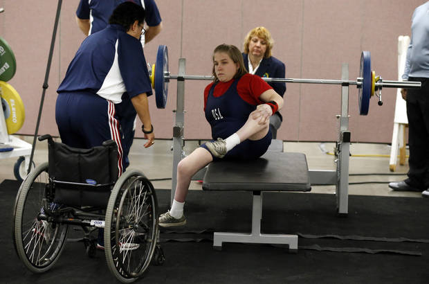 Chelsi Figley prepares to lift at the IPC Powerlifting competition during the Sports and Health Festival on Saturday, Feb. 16, 2013  in Oklahoma City, Okla. Photo by Steve Sisney, The Oklahoman