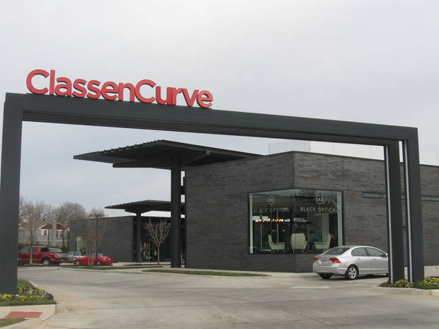 Classen Curve, designed by architect Rand Elliott and developed by Chesapeake Energy, has no storefronts facing nearby streets and features upscale retailers. <strong>Steve Lackmeyer</strong>