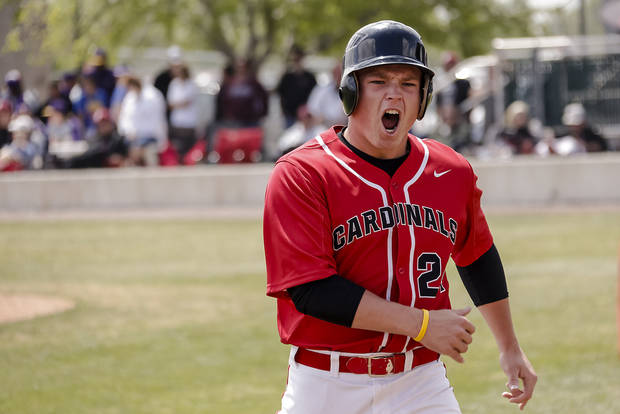 Verdigris' Tanner Smith reacts after scoring a run during the 3A baseball semifinal game between Verdigris and Spiro on Friday, May 10, 2013, in Edmond, Okla.Photo by Chris Landsberger, The Oklahoman