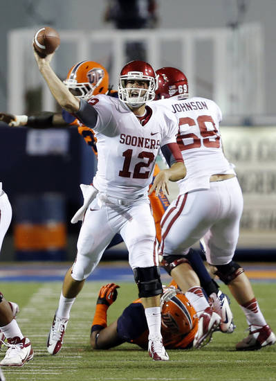 Oklahoma Sooners quarterback Landry Jones (12) throws a pass during the college football game between the University of Oklahoma Sooners (OU) and the University of Texas El Paso Miners (UTEP) at Sun Bowl Stadium on Saturday, Sept. 1, 2012, in El Paso, Tex.  Photo by Chris Landsberger, The Oklahoman