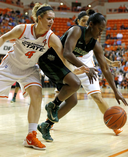 Liz Donohoe (4) goes for the ball beside Baylor's Kimetria Hayden (1) during a women's college basketball game between Oklahoma State University and Baylor at Gallagher-Iba Arena in Stillwater, Okla., Saturday, Feb. 2, 2013. Photo by Bryan Terry, The Oklahoman