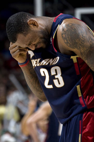 Cleveland&#039;s LeBron James (23) reacts after getting hit during a play during the NBA game between the Oklahoma City Thunder and Cleveland Cavaliers, Sunday, Dec. 21, 2008, at the Ford Center in Oklahoma City. PHOTO BY SARAH PHIPPS, THE OKLAHOMAN