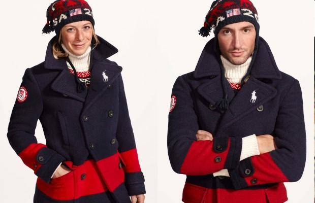 U.S. Olympic skier Hannah Kearney (left) and U.S. Olympic skater Evan Lysacek model the team uniforms.