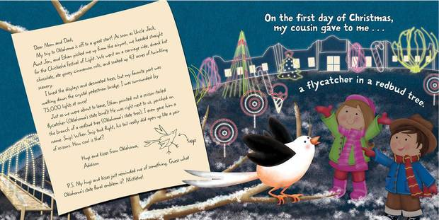 A page spread from �The Twelve Days of Christmas in Oklahoma,� written by Tammi Sauer and illustrated by Victoria Hutto, features the Chickasha Festival of Light. Photos provided