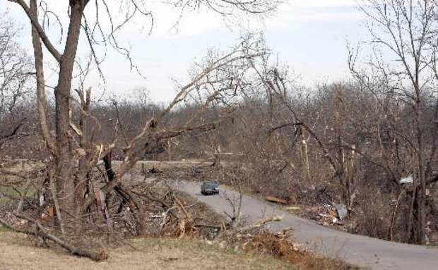 Tornado damage in the Majestic Hills neighborhood north of Ardmore, Thursday, Feb. 12, 2009, PHOTO BY SARAH PHIPPS