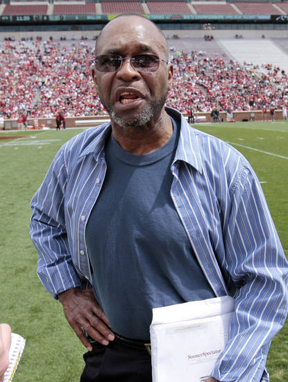 Former player Glenn King speaks with a reporter before the annual Spring Football Game at Gaylord Family-Oklahoma Memorial Stadium in Norman, Okla., on Saturday, April 13, 2013. Photo by Steve Sisney, The Oklahoman