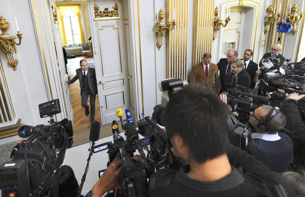 "Peter Englund, permanent secretary of the Royal Swedish Academy, arrives to announce that Chinese writer Mo Yan has been named the winner of the 2012 Nobel Prize in literature, Thursday Oct. 11, 2012 in Stockholm. The Swedish Academy, which selects the winners of the prestigious award, in Thursday praised Mo's ""hallucinatoric realism"" saying it ""merges folk tales, history and the contemporary."" As with the other Nobel Prizes, the prize is worth 8 million kronor, or about $1.2 million. (AP Photo/Fredrik Sandberg) SWEDEN OUT"