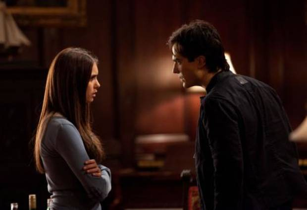 """The Descent"" - Nina Dobrev as Elena, Ian Somerhalder as Damon in THE VAMPIRE DIARIES on The CW. Photo: Bob Mahoney/The CW ©2010 The CW Network, LLC. All Rights Reserved."