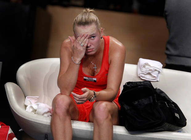 Danish tennis player Caroline Wozniacki reacts after she lost 4-6, 4-6 to German Angelique Kerber in the  e-Boks Open finals in Copenhagen Denmark  on Sunday, April 15, 2012. (AP Photo/POLFOTO, Lars Poulsen) DENMARK OUT ORG XMIT: COP805