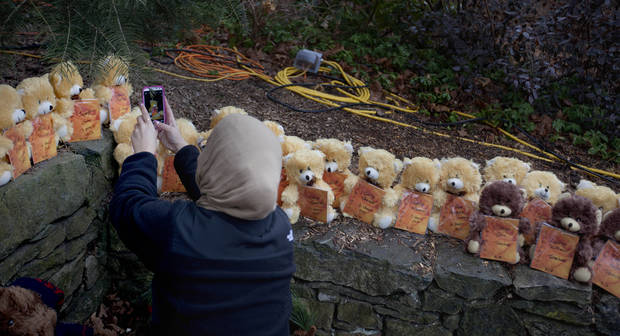 A mourner takes a picture of 26 teddy bears, each representing a victim of the Sandy Hook Elementary School shooting, at a sidewalk memorial, Sunday, Dec. 16, 2012, in Newtown, Conn. A gunman walked into Sandy Hook Elementary School in Newtown Friday and opened fire, killing 26 people, including 20 children. (AP Photo/David Goldman) ORG XMIT: CTDG115