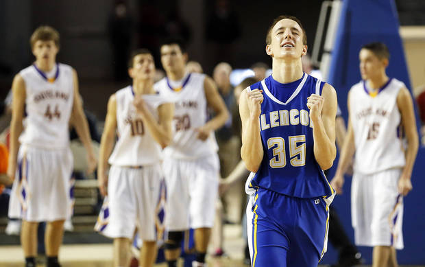 Glencoe�s Ty Lazenby celebrates his team�s victory over Weleetka in the Class A state championship game Friday. Lazenby had 10 points for the Panthers. Photo by Sarah Phipps, The Oklahoman
