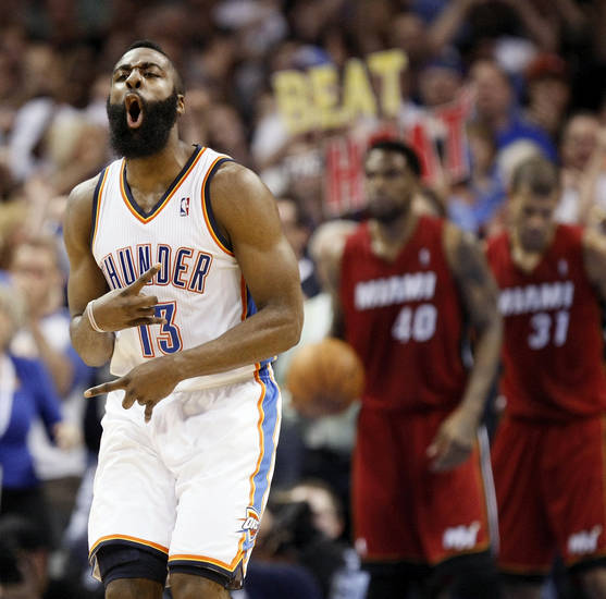 Oklahoma City's James Harden (13) reacts after a shot during the NBA basketball game between the Miami Heat and the Oklahoma City Thunder at Chesapeake Energy Arena in Oklahoma City, Sunday, March 25, 2012. Photo by Nate Billings, The Oklahoman