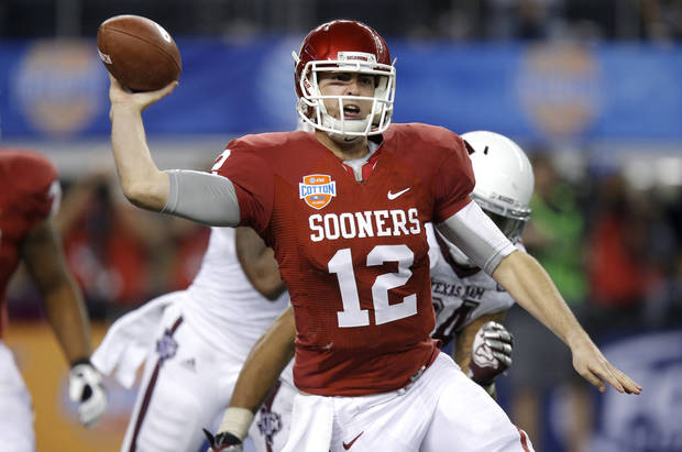 Oklahoma's Landry Jones (12) throws a pass during the Cotton Bowl college football game between the University of Oklahoma (OU)and Texas A&M University at Cowboys Stadium in Arlington, Texas, Friday, Jan. 4, 2013. Oklahoma lost 41-13. Photo by Bryan Terry, The Oklahoman