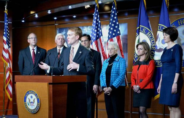 Rep. James Lankford speaks at a news conference with fellow Republican leaders Wednesday in Washington after being elected chairman of the House Policy Committee. PHOTO PROVIDED BY THE OFFICE OF JAMES LANKFORD
