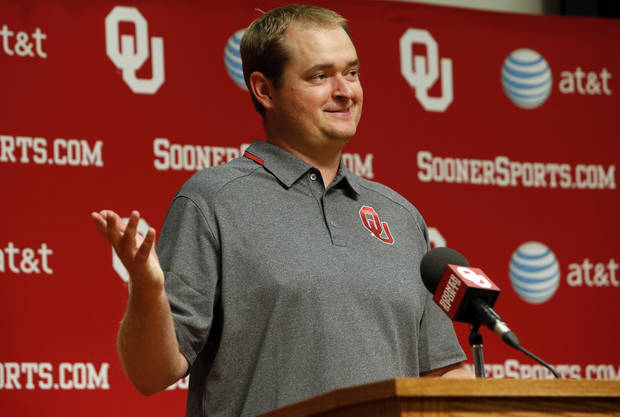 Co-Offensive coordinator Josh Heupel addresses the media during media access day for the University of Oklahoma Sooner (OU) football team in the Adrian Peterson meeting room inside Gaylord Family-Oklahoma Memorial Stadium in Norman, Okla., on Saturday, Aug. 3, 2013. Photo by Steve Sisney, The Oklahoman
