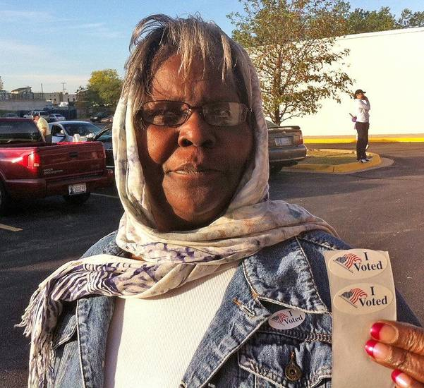 Emma Berryman, 72, of Oklahoma City talks about voting early Friday, November 2, 2012 at the Oklahoma County Election Board. Photo by Robert Medley, The Oklahoman. <strong>Robert Medley</strong>