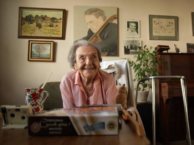 "Alice Herz-Sommer, now 110, the world's oldest pianist and oldest Holocaust survivor, is shown in a scene from the Oscar-nominated documentary short subject ""The Lady in Number 6: Music Saved My Life."" Photo provided."