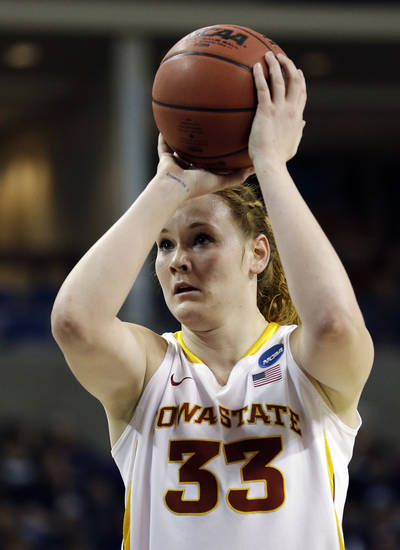 Iowa State's Chelsea Poppens shoots a free throw against Gonzaga in the first half during a first-round game in the women's NCAA college basketball tournament in Spokane, Wash., Saturday, March 23, 2013. (AP Photo/Elaine Thompson)